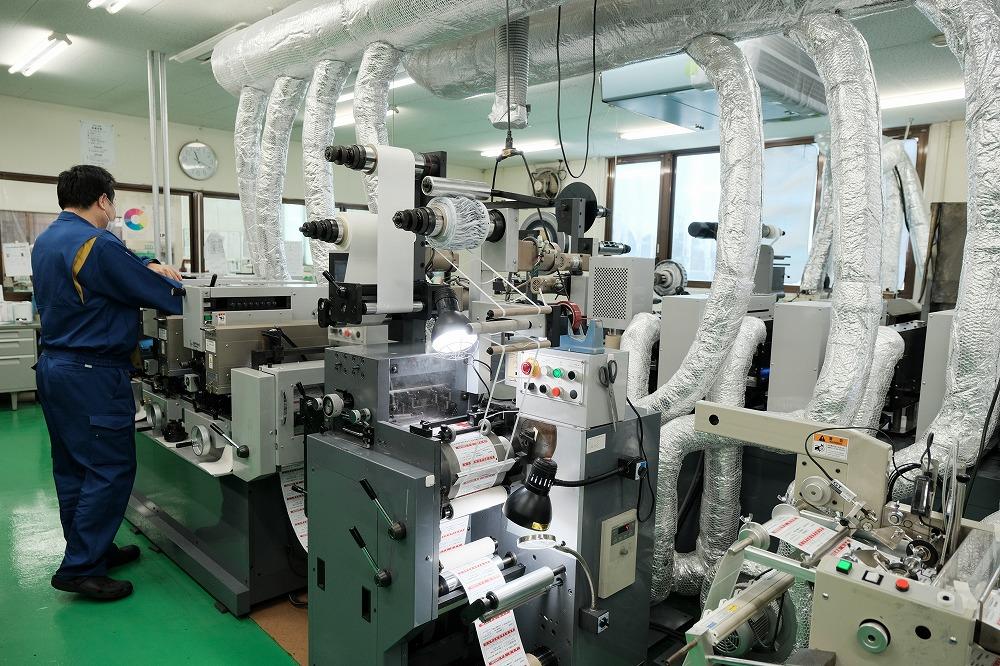 タックラベルの印刷機械